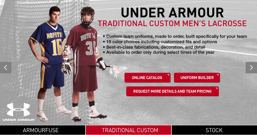 0ee8fc172fbc Shop for lacrosse team uniforms at BSN SPORTS. We offer men s lacrosse  stock and custom uniforms by Nike and Under Armour. Build your own custom  lacrosse ...