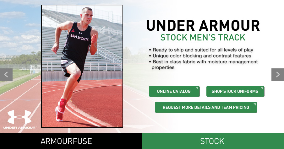 aa7c70663885a BSN SPORTS wants to keep your team running comfortably with our line of  men's track uniforms by Nike and Under Armour. Select the perfect uniform  for your ...