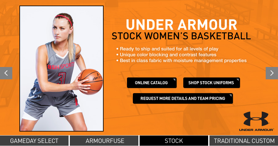 Browse the latest in women s basketball uniforms by Nike and Under Armour.  At BSN SPORTS you can order custom basketball jerseys and uniforms choosing  from ... b60c988bd